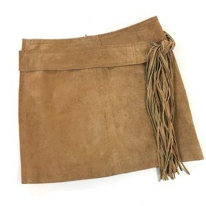Topshop Camel Suede Fringed Belt Mini Skirt